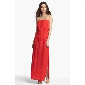 Red strapless maxi dress by Splendid